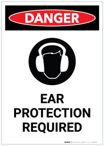 Danger: PPE Ear Protection Required with Icon Portrait - Label