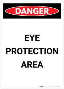 Danger: PPE Eye Protection Area Portrait - Label