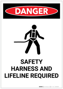 Danger: Safety Harness and Lifeline Required with Icon Portrait - Label