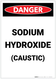 Danger: Sodium Hydroxide Caustic Portrait - Label