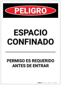 Danger: Spanish Permit Required Portrait - Label