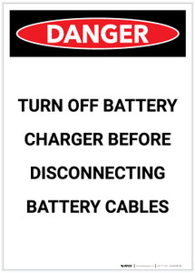 Danger: Turn Off Battery Charger Portrait - Label