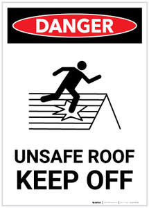 Danger: Unsafe Roof Keep Off with Icon Portrait - Label