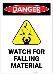 Danger: Watch For Falling Material with Hazard Icon Portrait - Label