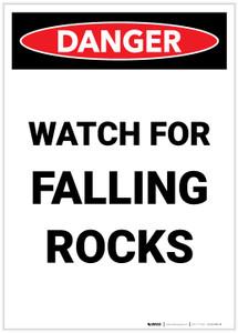 Danger: Watch for Falling Rocks Portrait - Label