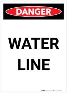 Danger: Water Line Portrait - Label