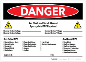 Danger: Arc Flash & Shock Hazard PPE Checklist Landscape - Label