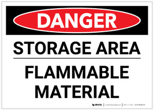 Danger: Storage Area Flammable Material Landscape - Label