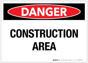 Danger: Construction Area - Label