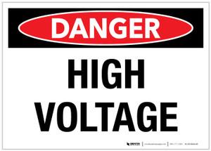 Danger: High Voltage - Label