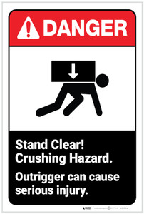 Danger: Stand Clear! Crushing Hazard ANSI - Label