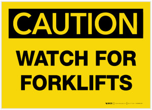 Caution: Watch for Forklifts - Label