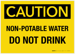 Caution: Non-Potable Water Do Not Drink - Label