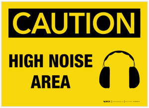 Caution: High Noise Area with Graphic - Label