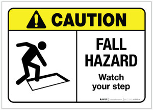 Caution: Fall Hazard ANSI - Label