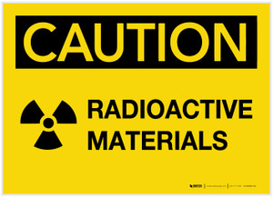 Caution: Radioactive Materials with Graphic - Label