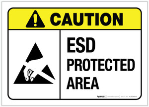 Caution: ESD Protected Area ANSI - Label