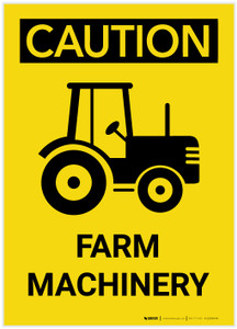 Caution: Farm Machinery with Graphic - Label
