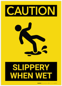Caution: Slippery When Wet With Graphic - Label