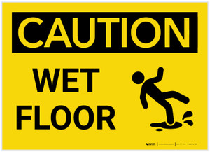Caution: Wet Floor with Graphic - Label