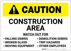 Caution: Construction Area/Watch for Hazards - Label