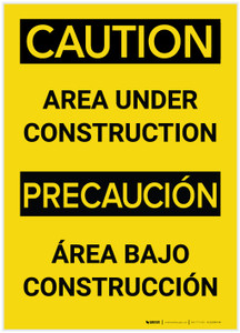 Caution: Area Under Construction (Bilingual Spanish) - Label