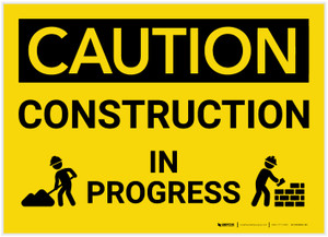 Caution: Construction in Progress with Graphic - Label