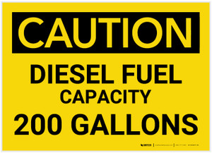 Caution: Diesel Fuel Capacity - 200 Gallons - Label