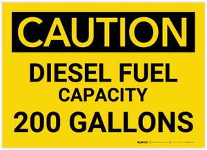 Caution: Diesel Fuel Capacity - 200 Gallons - Label