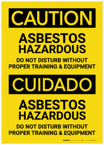 Caution: Asbestos Hazardous Bilingual (Spanish) - Label