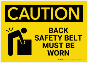 Caution: Back Safety Belt Must be Worn - Label