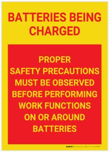 Caution: Batteries Being Charged - Label