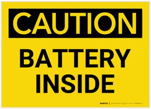 Caution: Battery Inside - Label