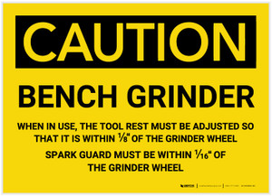 Caution: Bench Grinder - Label