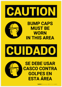 Caution: Bump Caps Must Be Worn in This Area Bilingual (Spanish) - Label