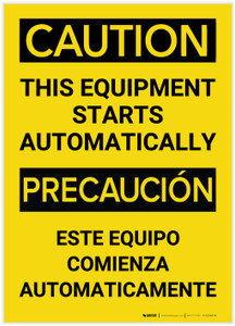 Caution: Equipment Starts Automatically Bilingual (Spanish) - Label