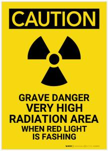 Caution: Grave Danger High Radiation Area - Label