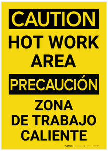 Caution: Hot Work Area Bilingual (Spanish) - Label