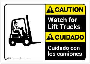 Caution: Lift Trucks ANSI Bilingual (Spanish) - Label