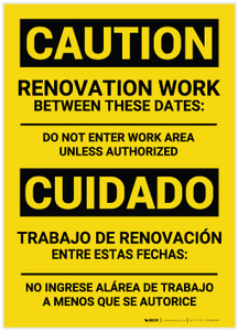 Caution: Renovation Work Bilingual (Spanish) - Label