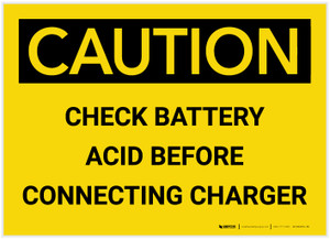 Caution: Check Battery Acid Before Connecting Charger - Label