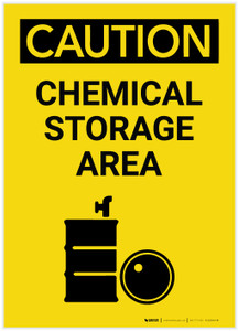 Caution: Chemical Storage Area Portrait with Graphic - Label