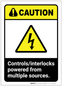 Caution: Controls Interlocks Powered From Multiple Sources ANSI - Label
