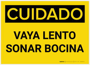 Caution: Go Slow Sound Horn Spanish - Label