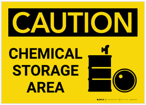 Caution: Chemical Storage Area with Graphic - Label