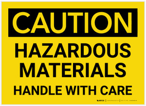 Caution: Hazardous Materials Handle With Care - Label