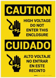 Caution: High Voltage Do Not Enter Enclosure Bilingual - Label