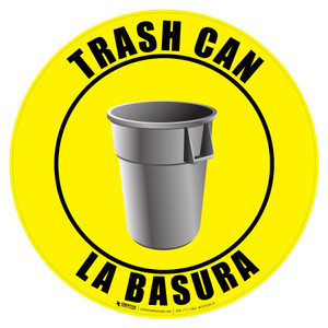 Bilingual Trash Can Sign