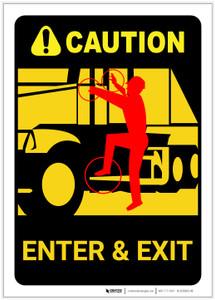 Caution: Truck Driver Enter Exit Directions - Label