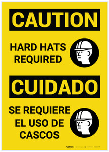 Caution: Hard Hats Required Caution Bilingual - Label